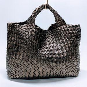 Falorni Italy Le Borse Woven Metallic Leather Tote